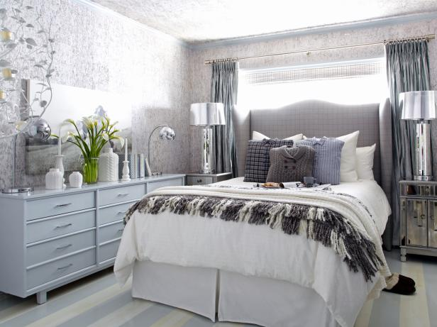 Contemporary Bedroom With Silver Accents