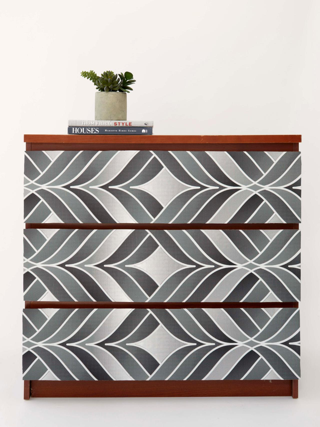 Use Wallpaper To Amp Up A Tired Dresser Hgtv