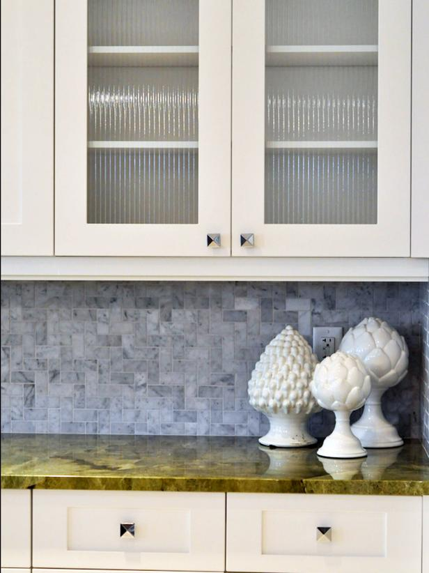 Contemporary Kitchen Cabinets With Gray Tile Backsplash
