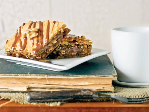 Baklava With Nutella Glaze on Book