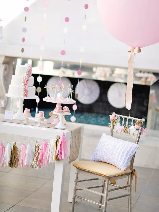 Blissful Pink & Gold Cake Table With Tassel Garland