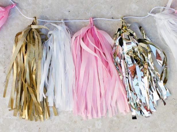Tissue Paper Garland With Gold, White and Pink Tassels