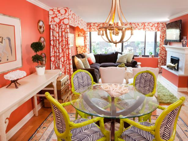 Vibrant Eclectic Living and Dining Room