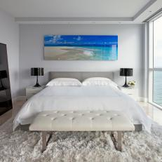 White Bedroom With Beach Photograph