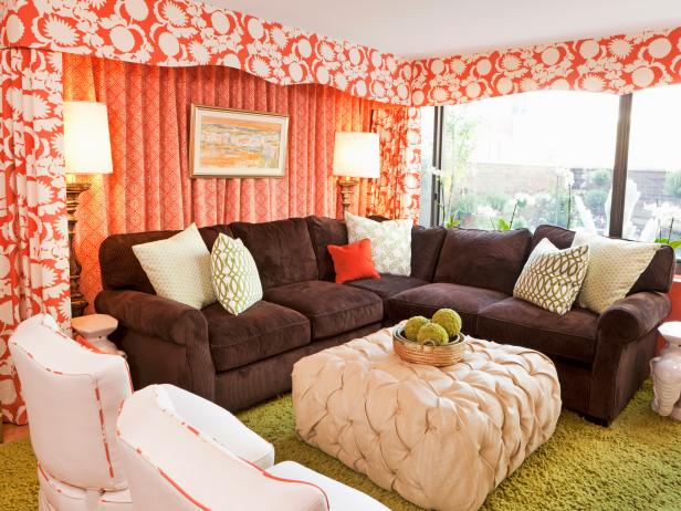 Eclectic Living Room With Coral Curtains