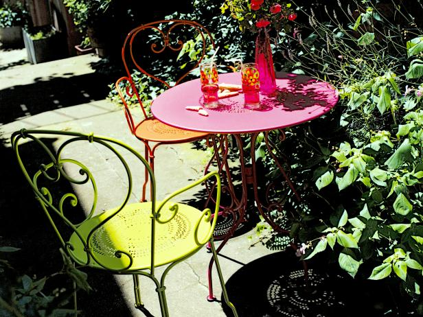 Small Outdoor Garden Table and Chairs in Bright Colors