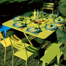 Modern Outdoor Table With Green Blue Setting