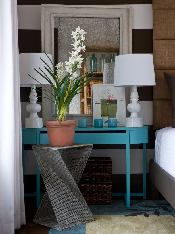 Turquoise nightstand and mirror