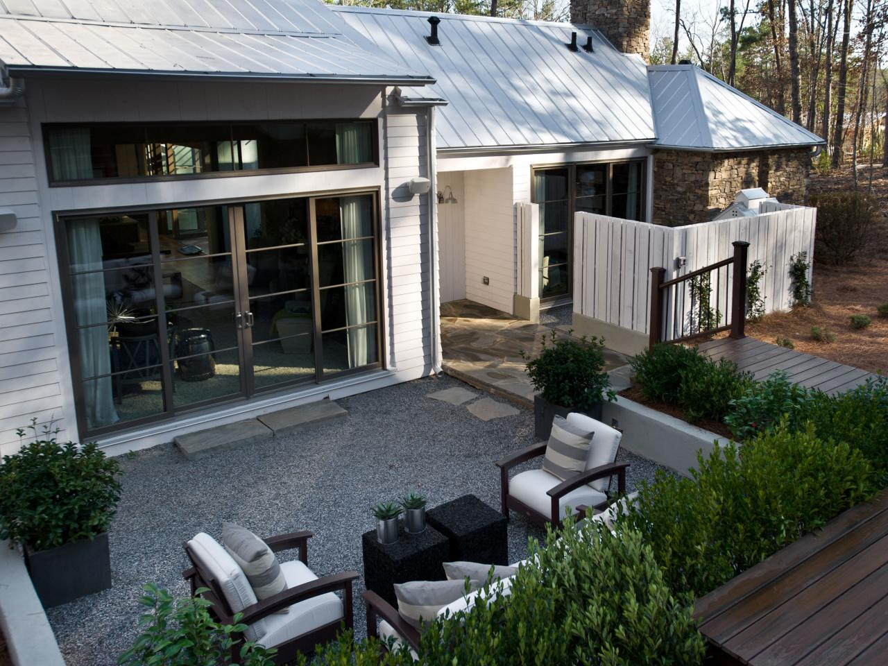 Contemporary Courtyard with Outdoor Living Room Set | HGTV on Outdoor Living Room Set id=21089
