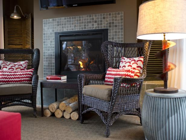 Fireplace With Brown Wicker Chairs