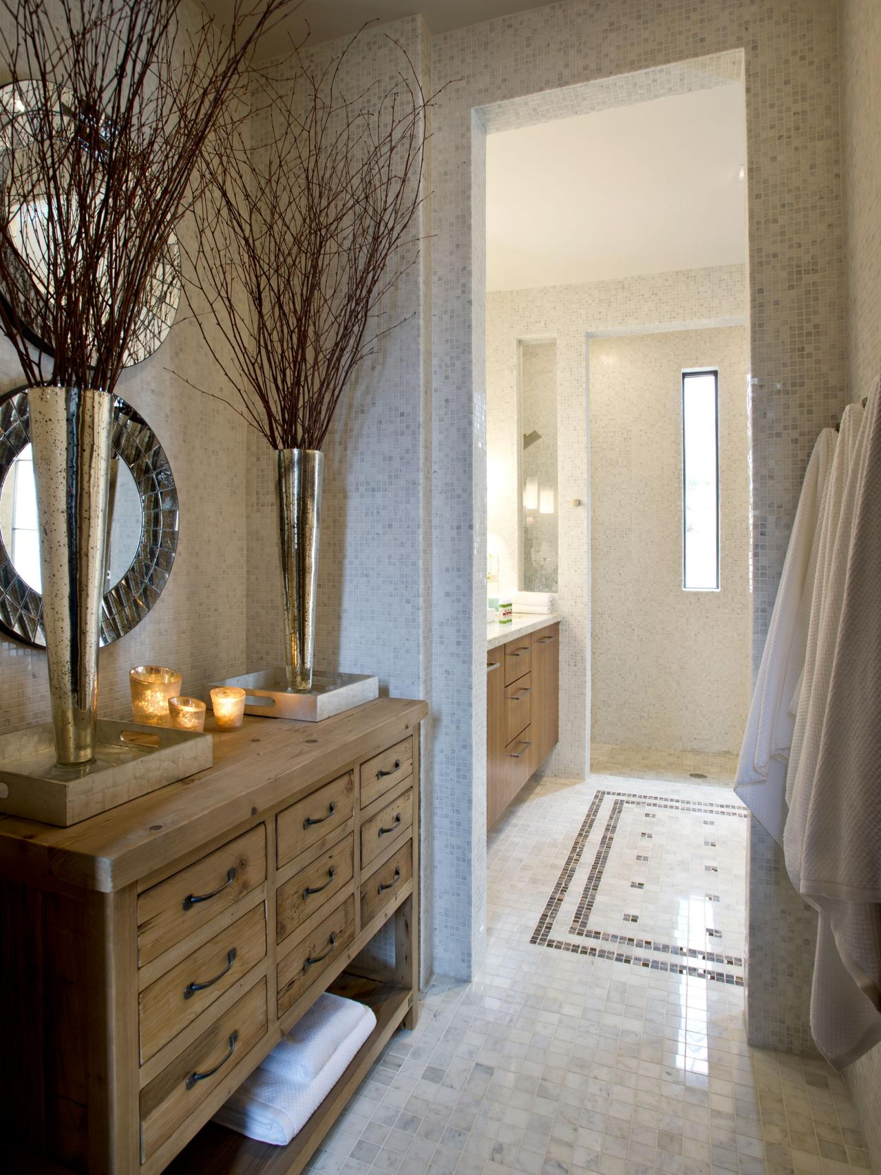 Master Bathroom With White Tile Floor And Rustic Wood