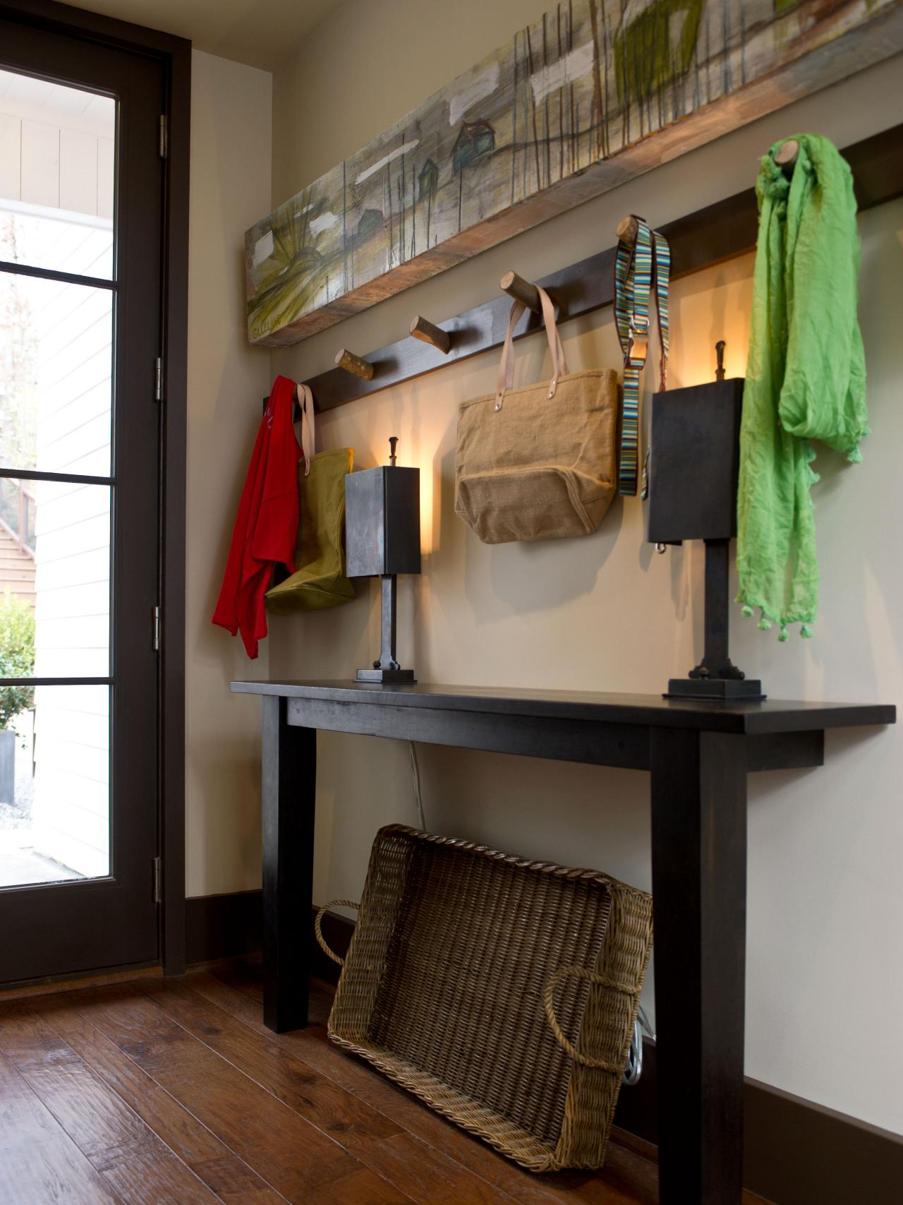 Rustic Mudroom With Hand Crafted Coat Rack Storage Hgtv