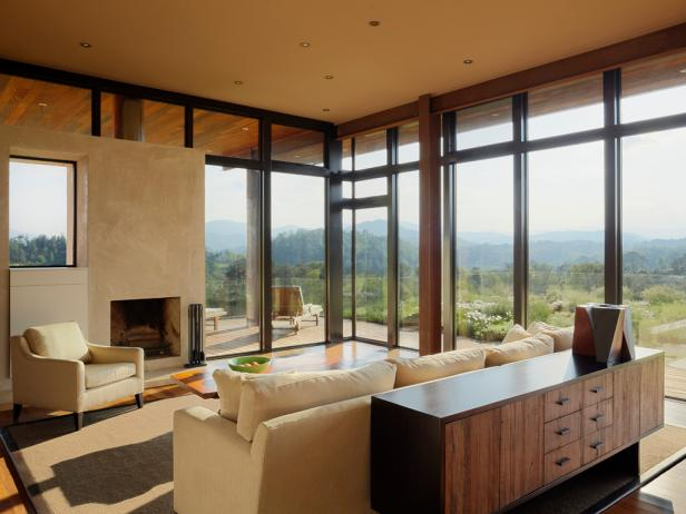 Neutral Living Room With Floor-to-Ceiling Windows and Mountain View