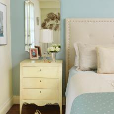 Blue Traditional Bedroom With Upholstered Headboard