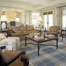 Casual Living Room With Menswear Inspired Plaid Area Rug