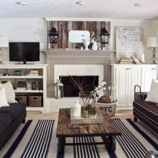 Bon Cottage Living Room With Reclaimed Wood Accents