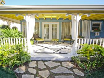 Vibrant Chartreuse Back Porch With Open Entrance