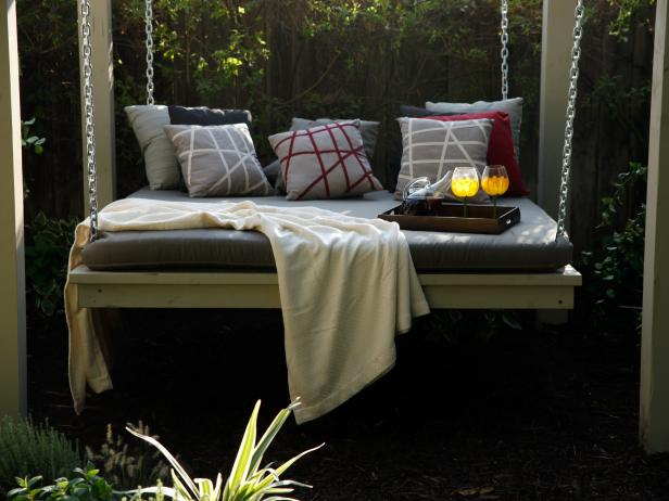 Hanging Backyard Day Bed With Graphic Pillows
