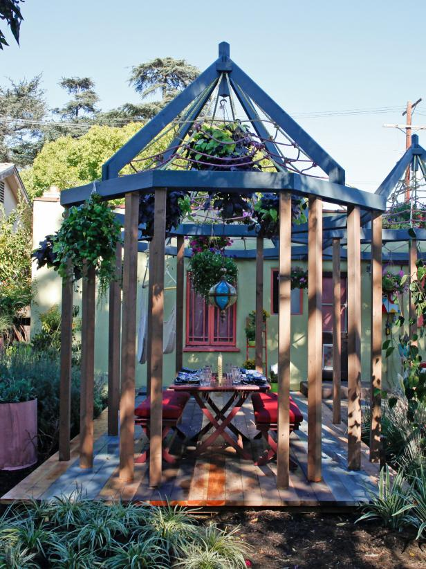 Macrame Gazebo and Outdoor Dining Space
