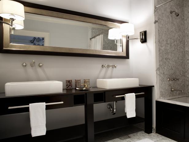 . Double Vanity in Modern Black and Silver Bathroom   HGTV
