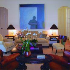 Transitional Living Room With Artwork