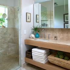 Neutral Beach-Inspired Bathroom With Walk-In Shower