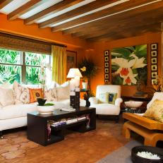 Tropical Orange Living Room With Exposed Beam Ceiling