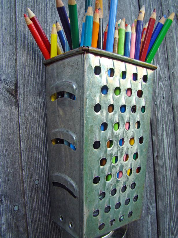 Repurposed Cheese Grater as Pencil Storage
