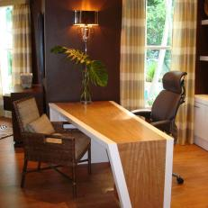 Home Office With Custom-Made Inlay Wood Desk