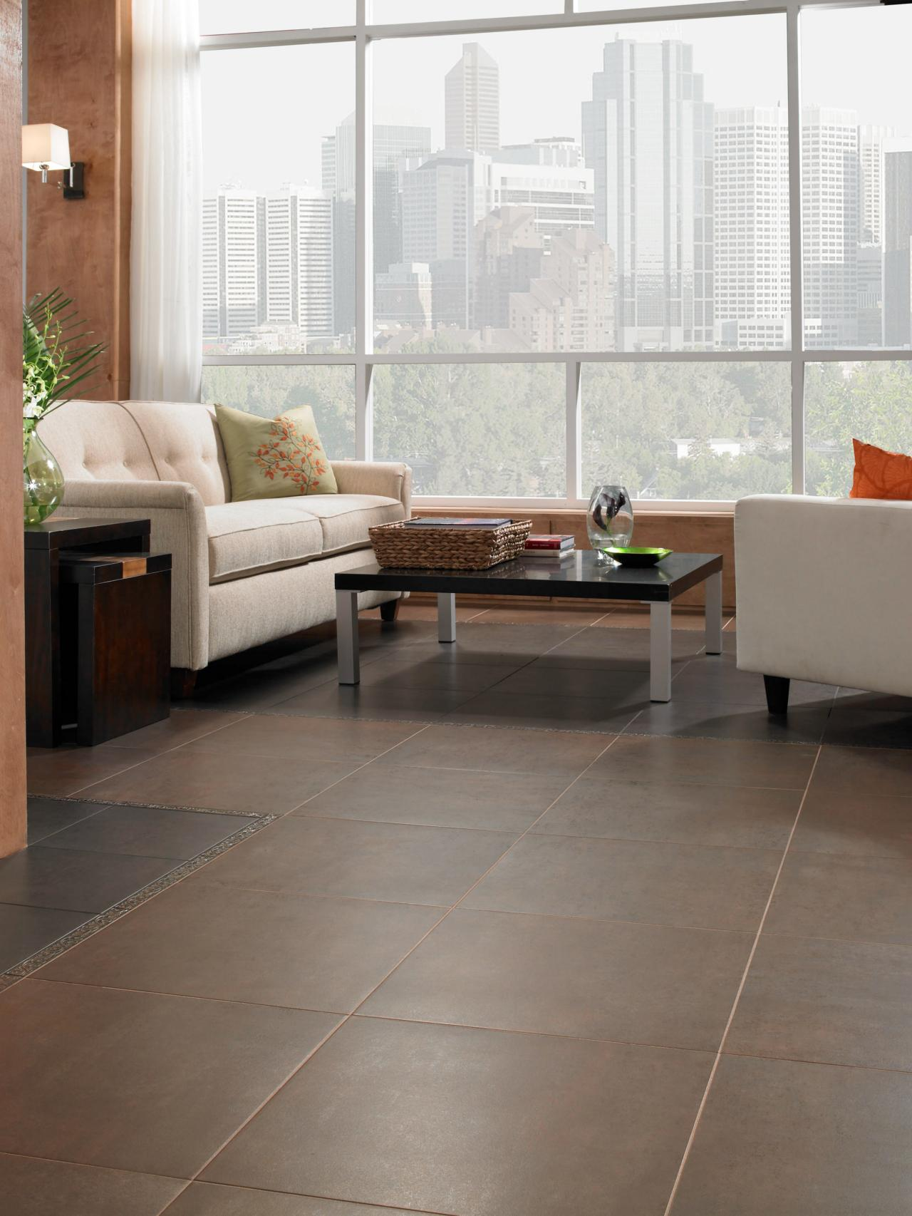 Living Room With Large Floor Tiles Hgtv