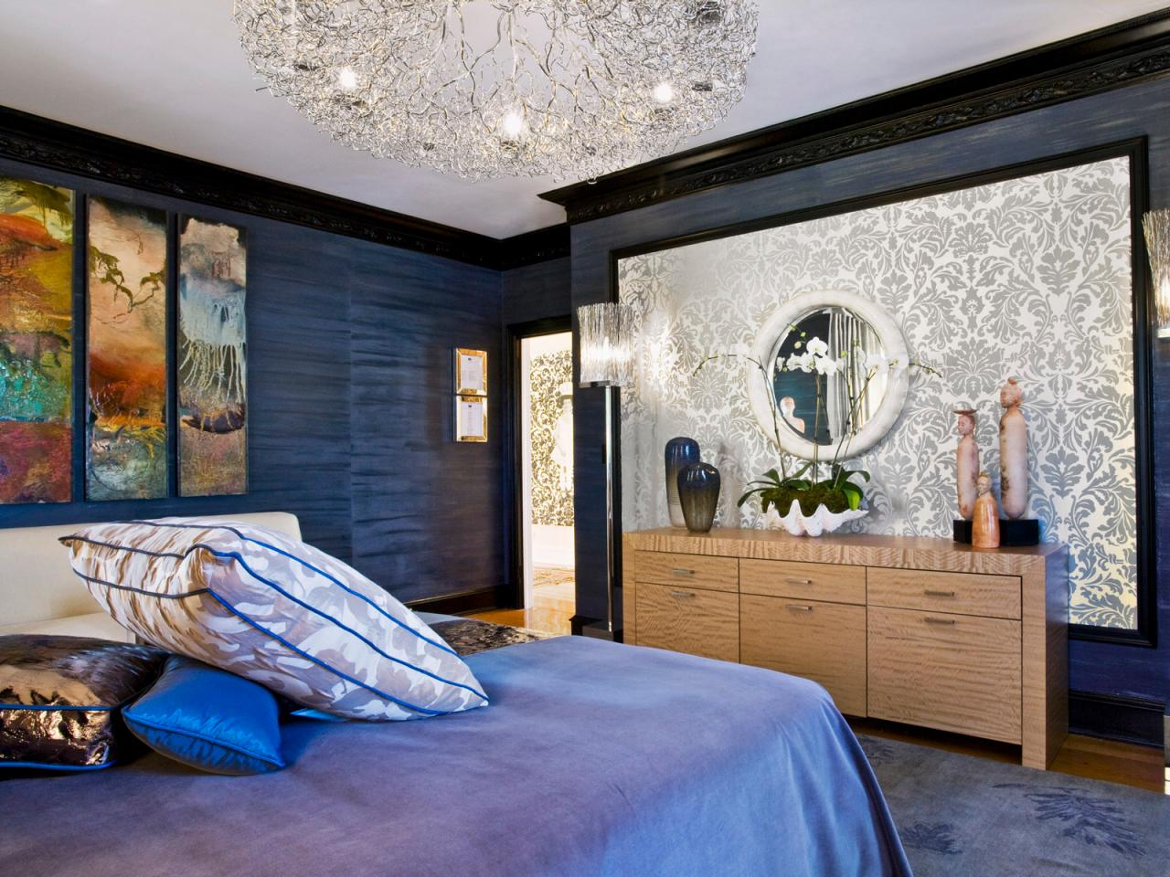 Blue Eclectic Bedroom With Silver Damask Accent Wall