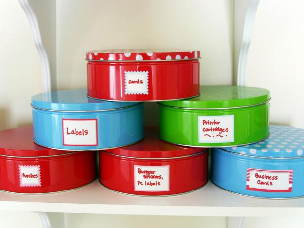 Cookie Tins as Office Storage