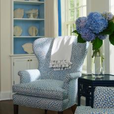 Blue-and-White Chair with Built-In Bookcase