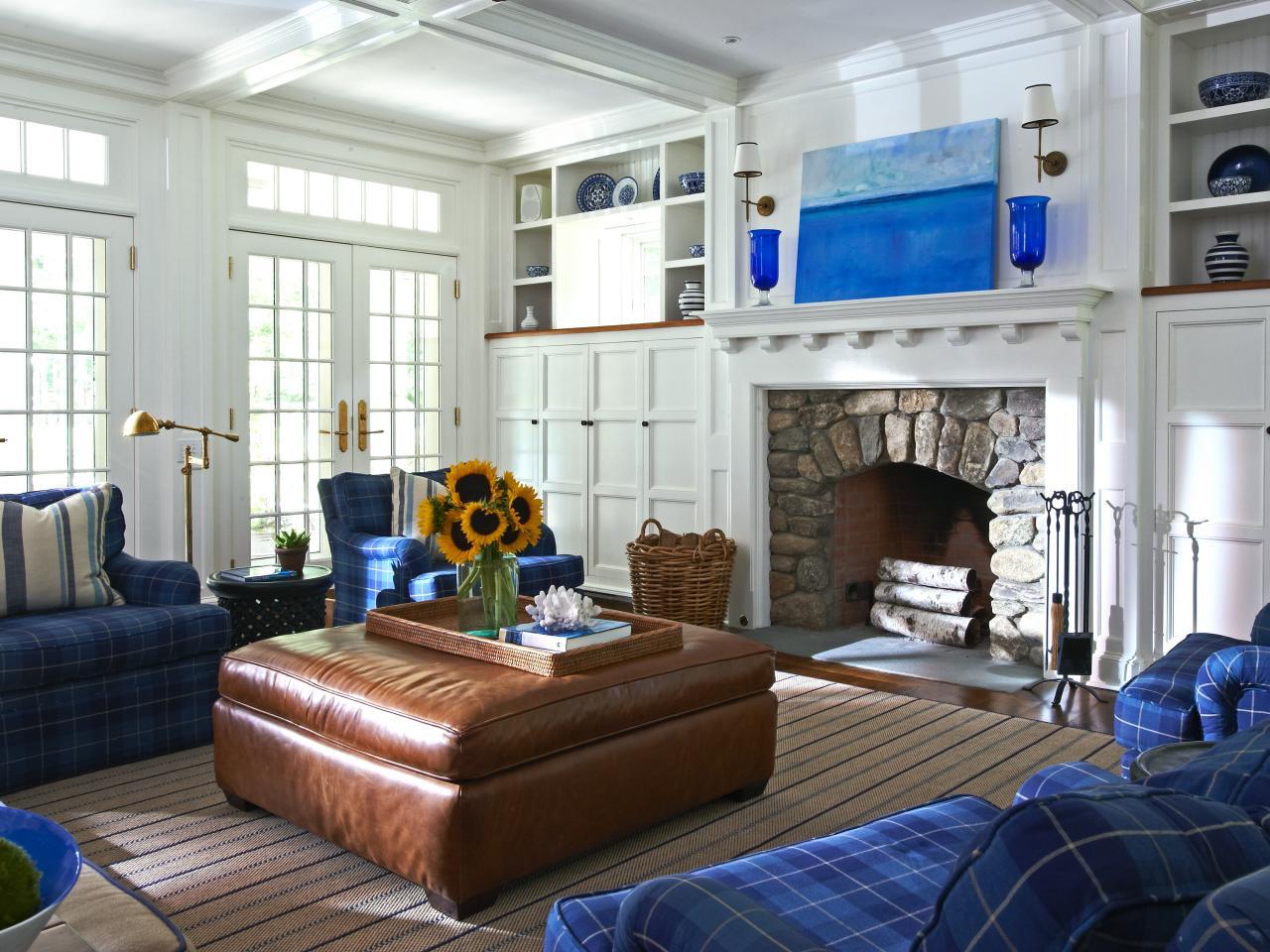 White Coastal Living Room With Stone Fireplace Hgtv