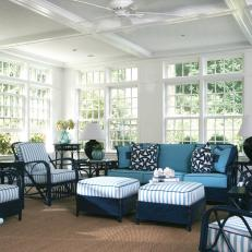 Sunroom with Blue and White Wicker Furniture