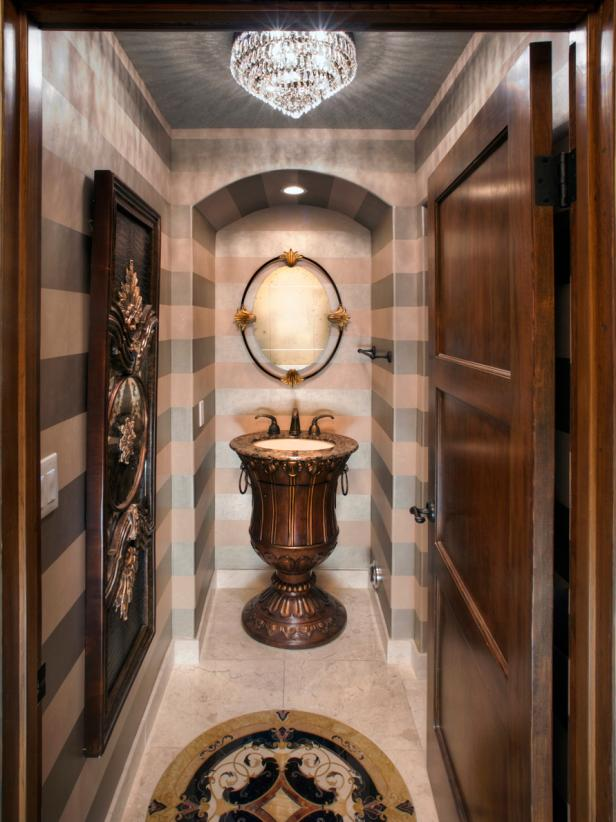 Pink and Gray Striped Powder Room with Pedestal Sink