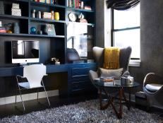Modern Home Office With Built-in Cabinetry and Shag Rug