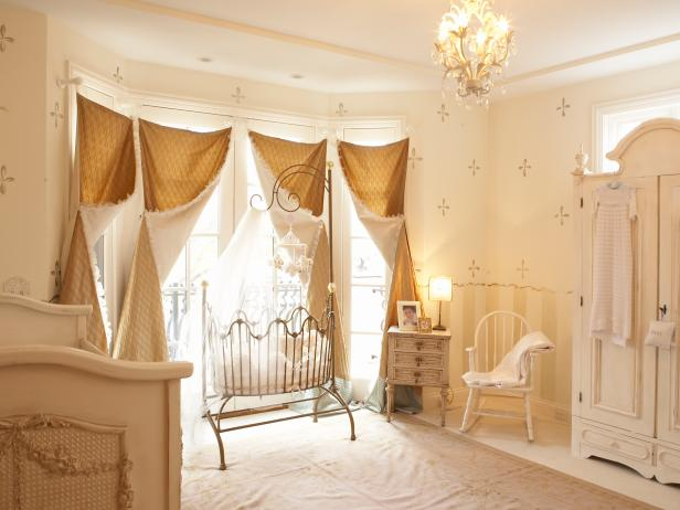 Neutral Nursery With Two Cribs, Gold Window Panels, Stenciling on Wall