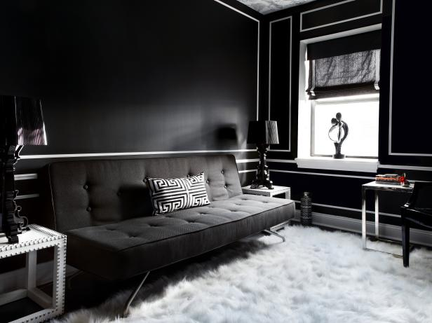 Black and White Living Room With Shag Rug