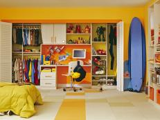 Yellow Eclectic Teen Boy's Room With Closet Detail