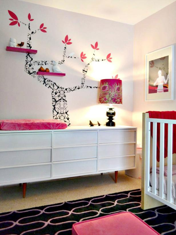 White Nursery With Credenza Changing Table and Black & White Tree Art