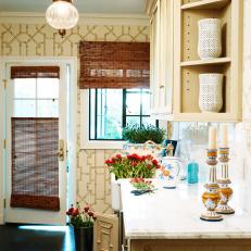 Cottage Kitchen With Printed Wallpaper