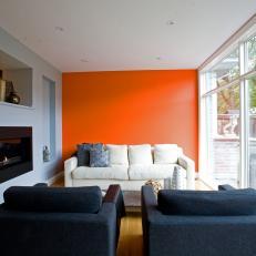 Orange Contemporary Living Room Photos HGTV - Orange and light blue bedroom