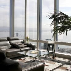Modern Living Room With View Of The Bay Black Leather Couches
