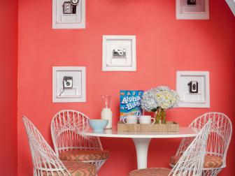 Cheery Coral Breakfast Nook With Camera Display