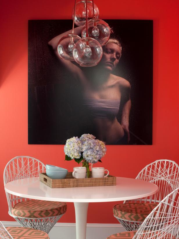 Contemporary Red Dining Area With Photograph and Globe Pendant Lights
