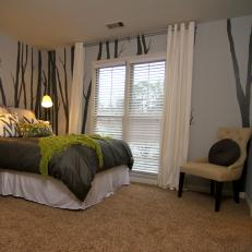 Superbe Gray And Green Guest Bedroom