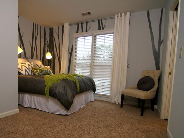 Gray and Green Guest Bedroom