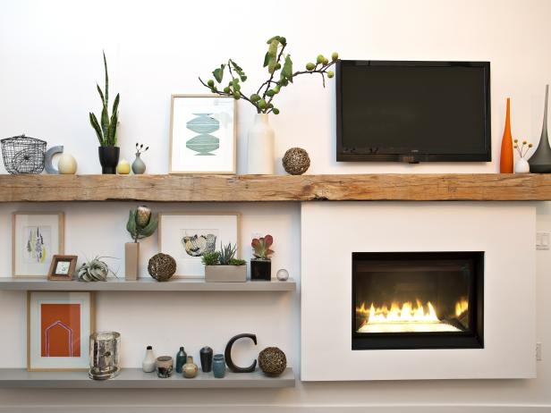Modern Living Room Fireplace With Rough-Hewn Mantel and Shelves