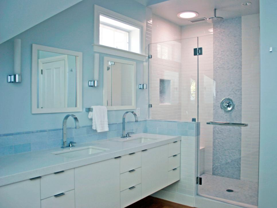 Modern Blue Bathroom With White Double Vanity